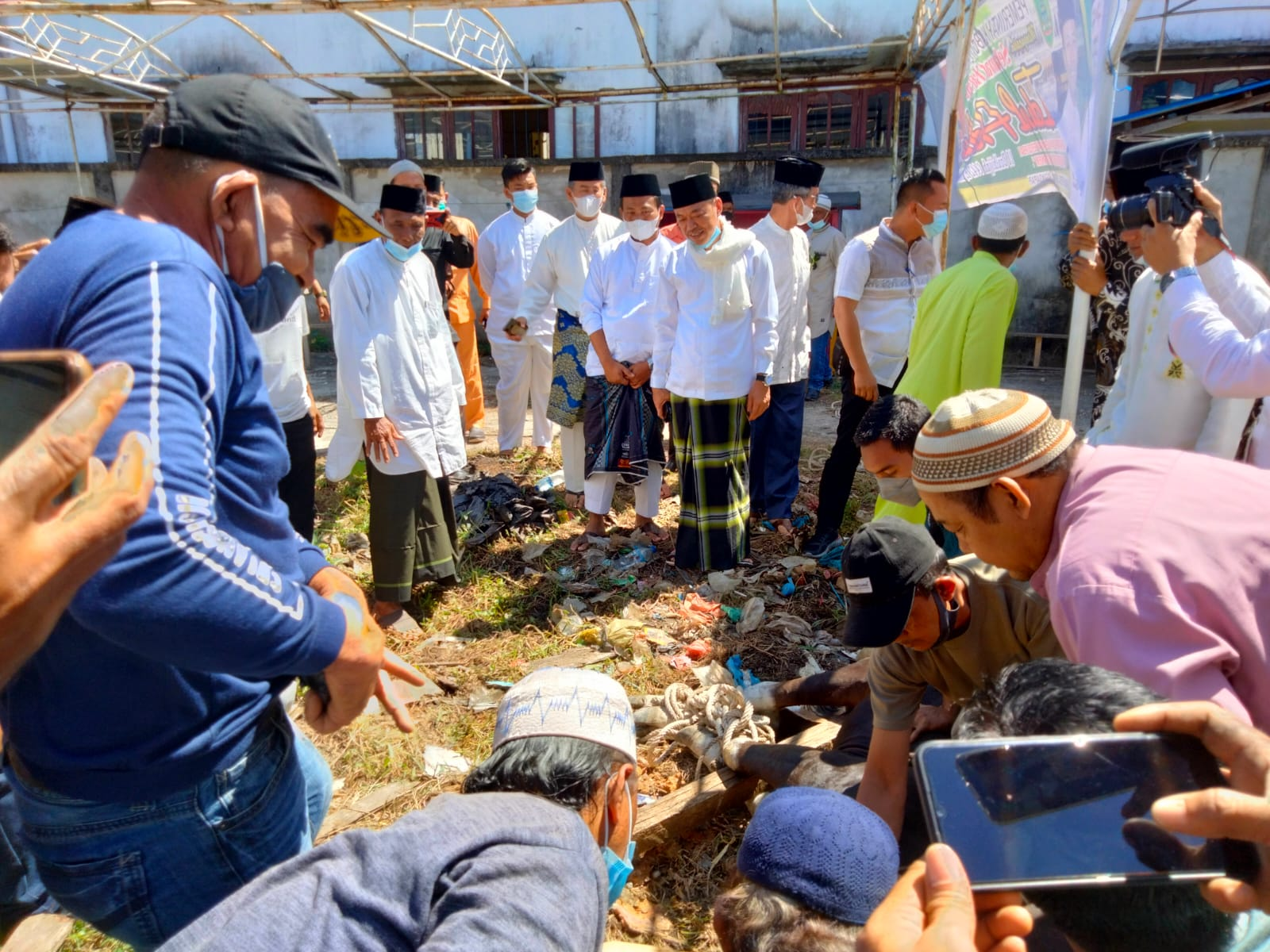 Bupati dan Wakil Bupati Rohil Saksikan Pemotogan Sapi Kurban Untuk Wartawan