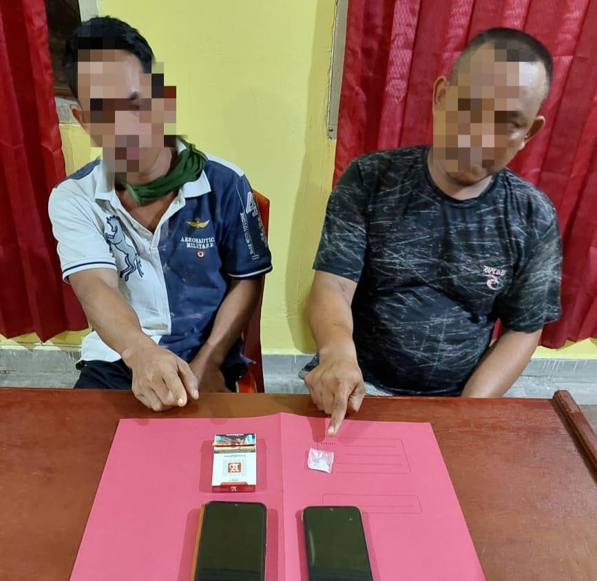 Polsek Kampar Kiri Amankan 2 Pelaku Narkoba di Desa Gunung Sari
